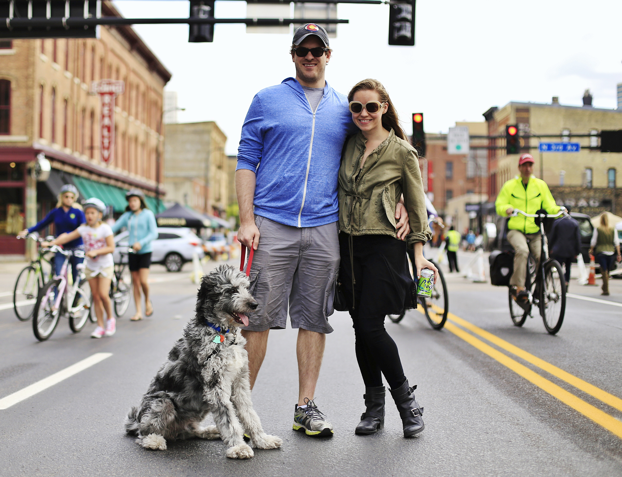 A couple poses for a photo during an Open Streets event in Minneapolis. (Photo courtesy of Ajith George)