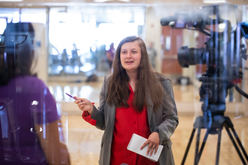 ThreeSixty Journalism student Josie Morss works with professional media coaches to interview sources for news packages on July 23, 2019 in St. Paul.