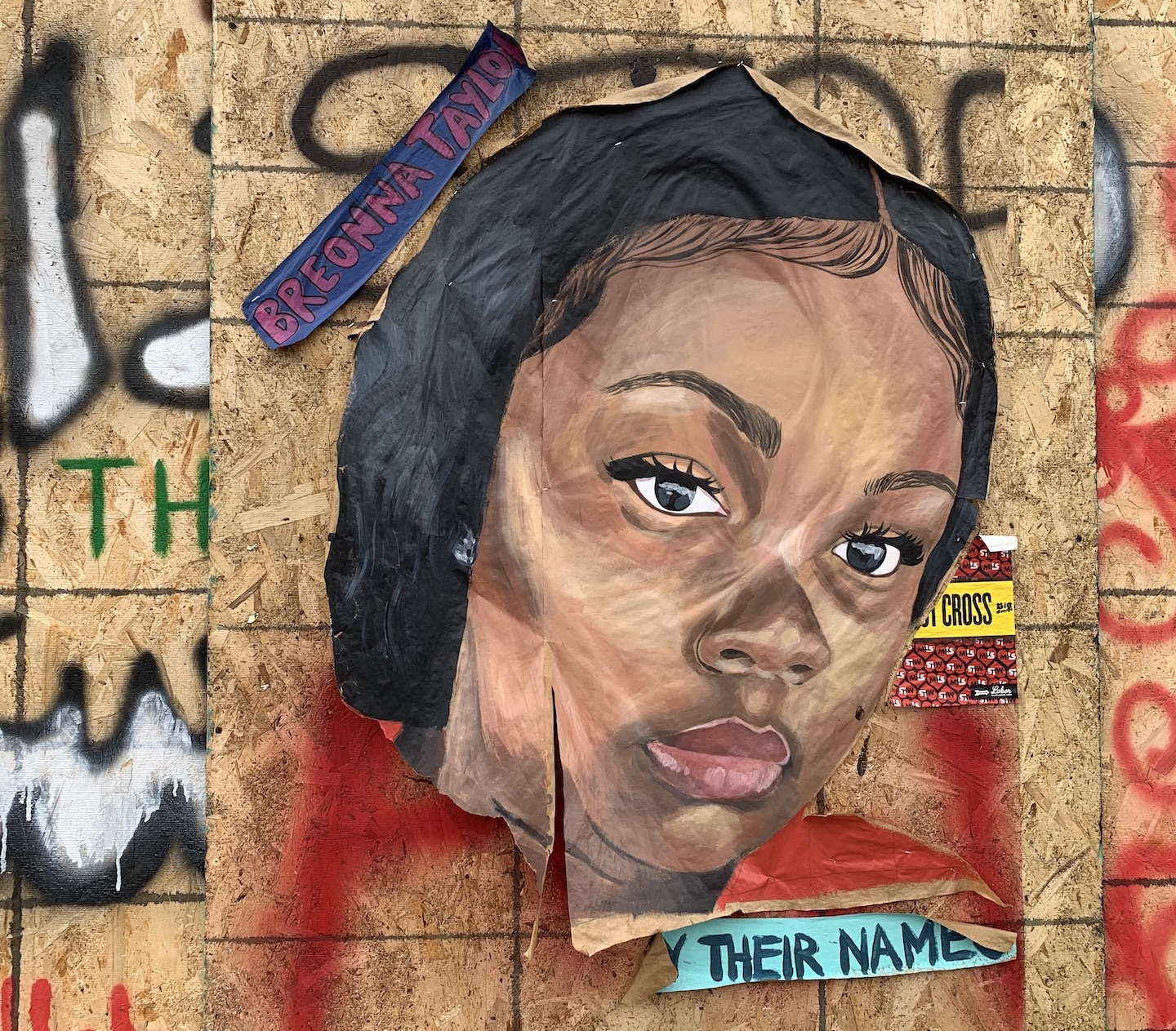 A tribute to Breonna Taylor by Face Me Por Favor near 38th and Chicago. (Heather Shirey)