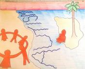 """illustration of people holding hands in a circle on the shore of a beach, and someone sitting alone with a tree on an island. The words """"Autism"""" are written on the water along the shoreline"""