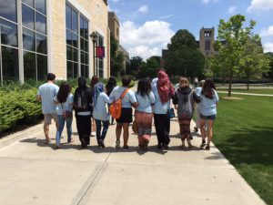 ThreeSixty campers walk along the University of St. Thomas campus