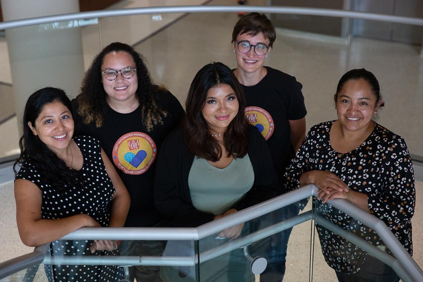 Left to right, CLUES team members Reyna Lopez, Janelle Calvo-Nieto, Jennifer Peña, Abigail Hindson and Patricia Morales 2021
