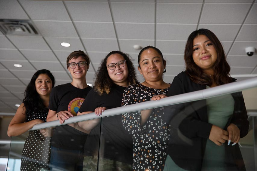 Left to right, CLUES team members Reyna Lopez, Abigail Hindson, Janelle Calvo-Nieto, Patricia Morales and Jennifer Peña, 2021