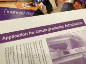 Financial Aid packet underneath an Application for Undergraduate Admission