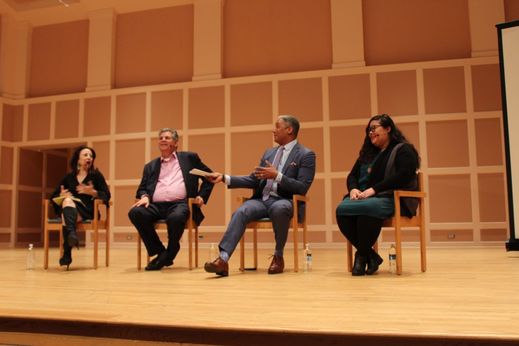 Panelists (left to right) Maria Hinojosa, Mark Trahant, Steve Wyche and Emma Carew Grovum offered local newsrooms opportunities to improve diversity and coverage.