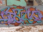colorful graffiti that looks like it ma represent letters