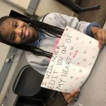 Irondale High School's Aaliyah Demry shares her sweet journalism valentine, which was on-theme with the day's lesson, Editing and Fake News. (ThreeSixty Journalism/Bao Vang)