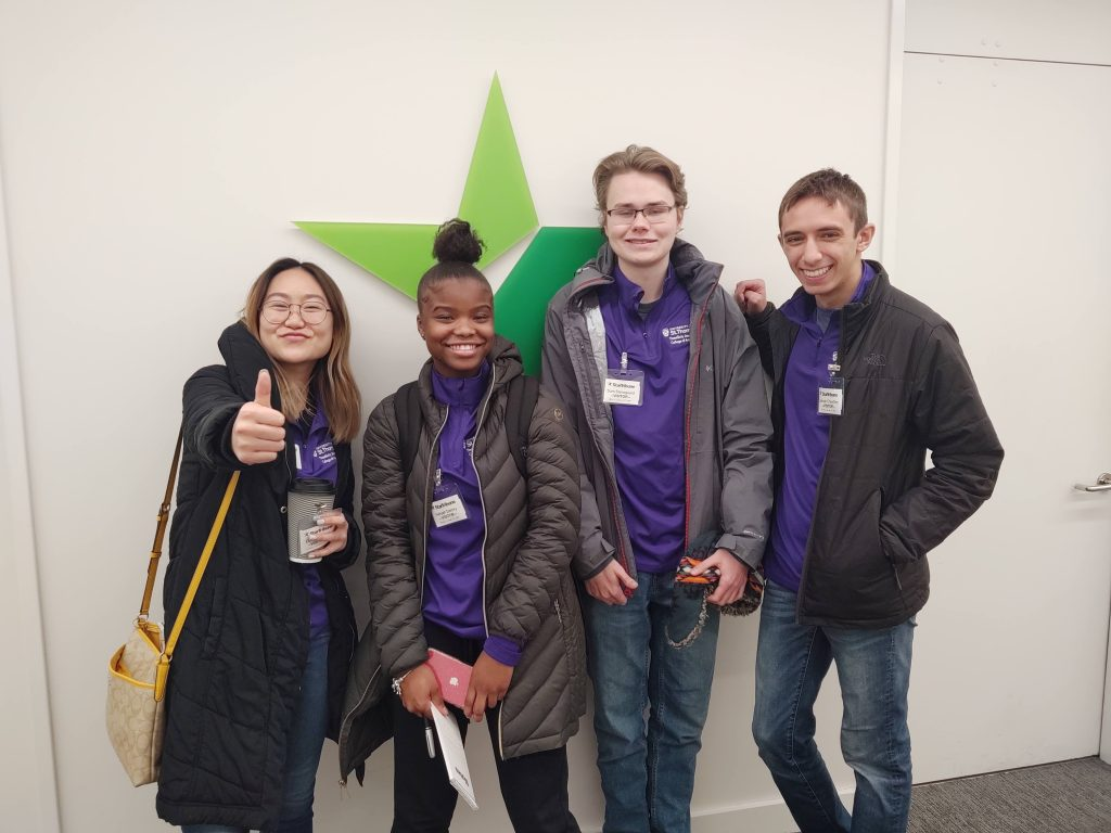 Through a partnership with the Star Tribune and Pioneer Press, ThreeSixty sent four Junior Reporters to cover the game. Left to Right: 2016 Scholar Danielle Wong, Aaliyah Demry, Sam Stensgaard and 2018 Scholar Zekriah Chaudhry.