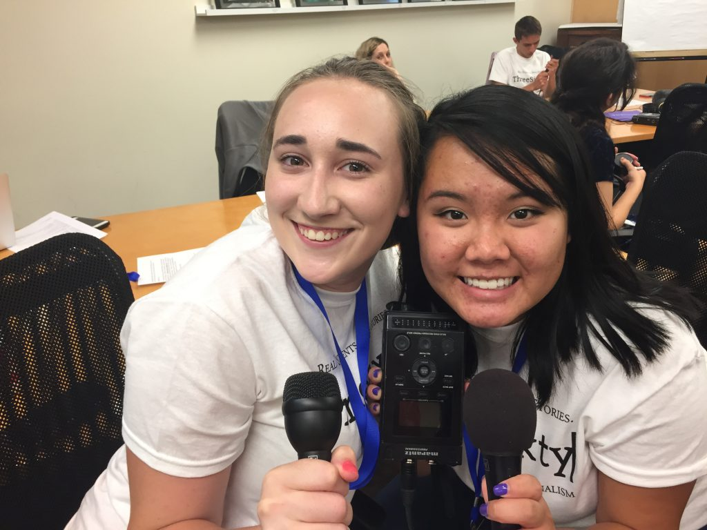 Two students at Radio Broadcast Camp