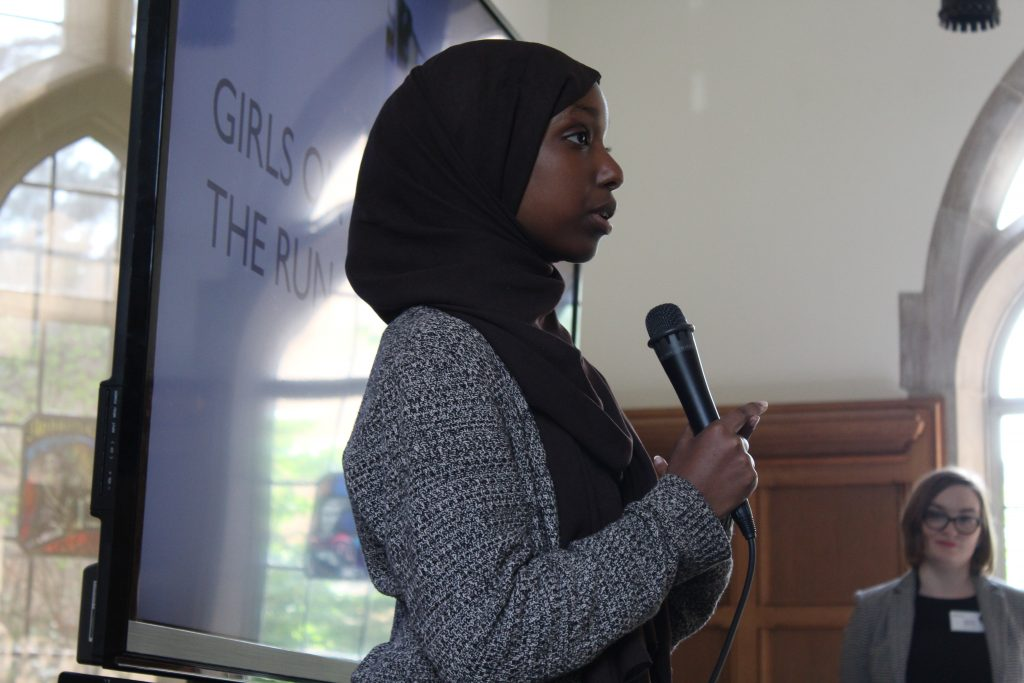 Ilhan Dhegadub speaks at the ice cream social and parent reception.