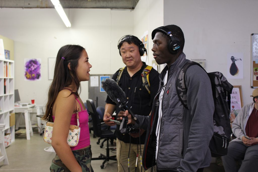 ThreeSixty Radio Camp's Datelle Straub interviews Bird at Juxtaposition Arts with the help of his mentor Sam Choo.
