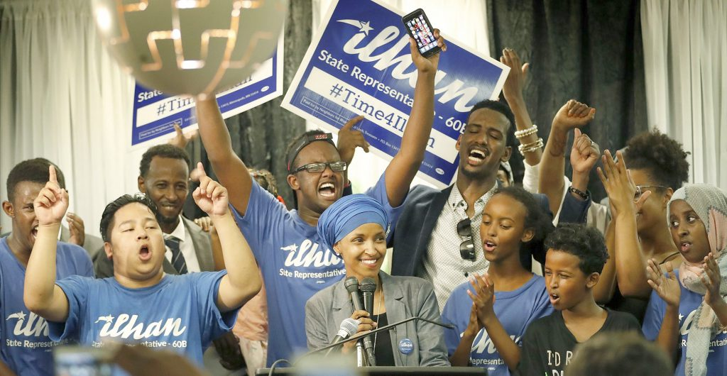 Omar and her supporters celebrate after she won the primary in August. (Submitted photo)