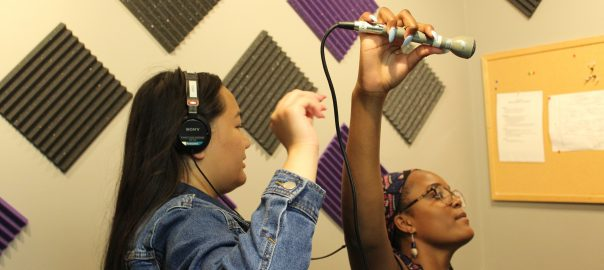 Jade & N'yah recording digital audio storytelling camp 2019
