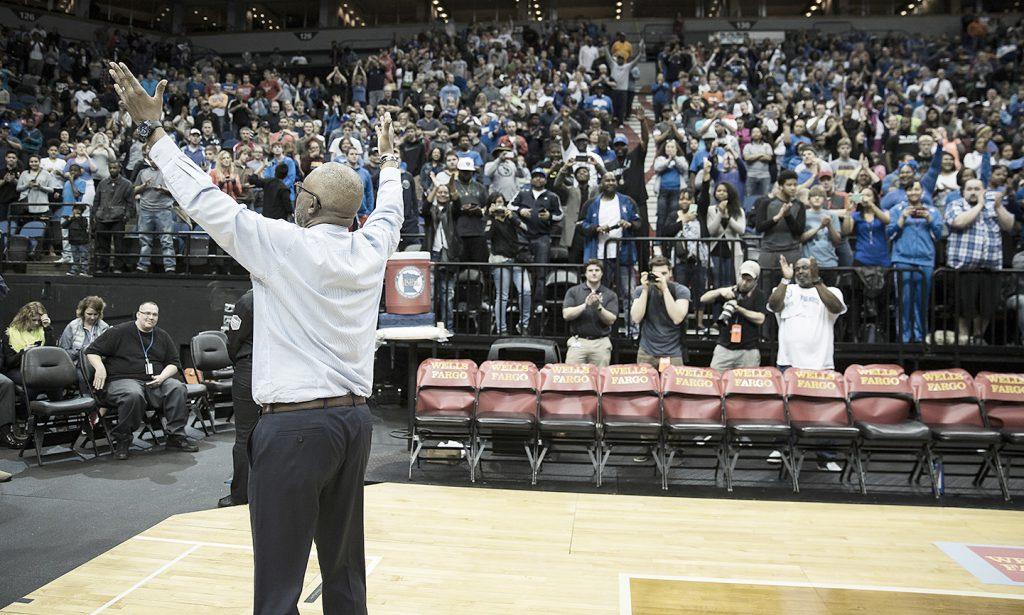 Minneapolis North head boys basketball coach Larry McKenzie gestures to the crowd during the Class A state boys basketball tournament last season at the Target Center. McKenzie led the Polars to their first state title since 2003. (Submitted photo)