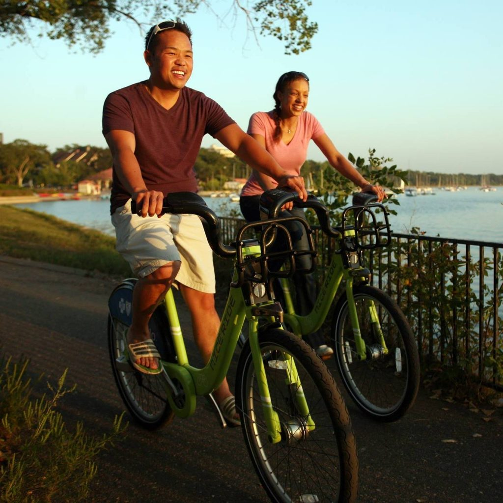 Minnesotans enjoy a ride on one of the many Nice Ride bikes located throughout the Twin Cities metro area.