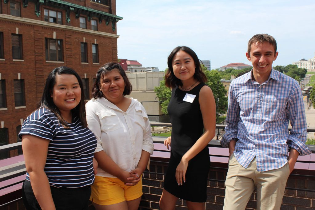 ThreeSixty Scholars attend the MPR Radio Camp celebration. From left to right: Samantha HoangLong, Kai Sanchez-Avila, Danielle Wong and Zekriah Chaudhry.