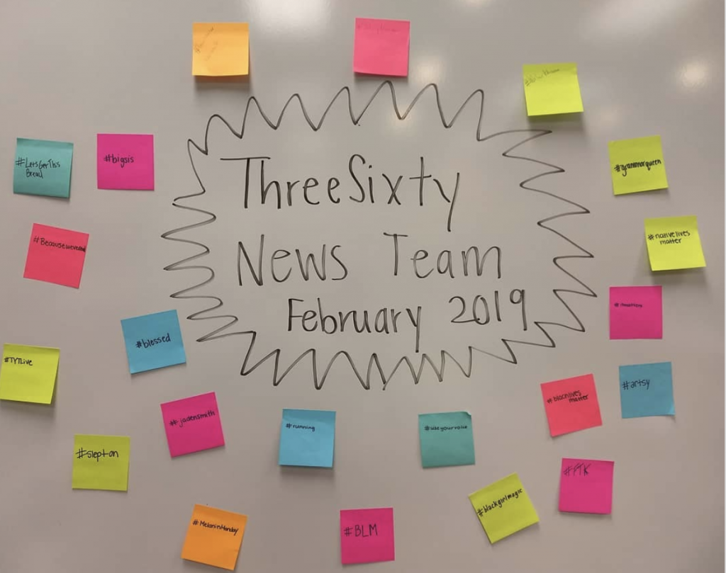 Whiteboard with stickie notes of spring 2019 News Team students describing themselves.