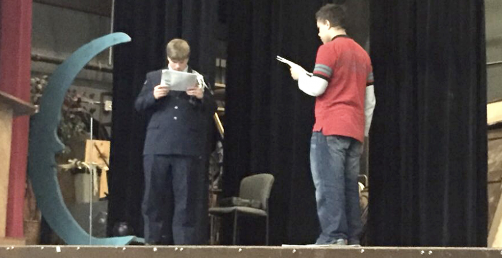 "Students at St. Paul Johnson High School rehearse in October for ""The Complete Works of WIlliam Shakespeare (abridged)."""