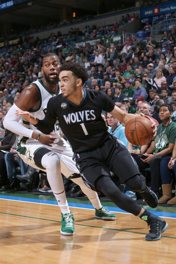 Milwaukee, WI - MARCH 4: Tyus Jones #1 of the Minnesota Timberwolves handles the ball against the Milwaukee Bucks on March 4, 2016 at the BMO Harris Bradley Center in Milwaukee, Wisconsin. NOTE TO USER: User expressly acknowledges and agrees that, by downloading and or using this Photograph, user is consenting to the terms and conditions of the Getty Images License Agreement. Mandatory Copyright Notice: Copyright 2016 NBAE (Photo by Gary Dineen/NBAE via Getty Images)