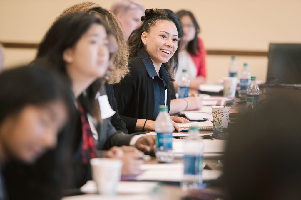 Brook LaFloe, a cabinet member of the Young Women's Initiative, participates in a meeting of the Young Women's Leadership Day on Sept. 9, 2017, at the Minnesota State Capitol. The Young Women's Initiative has created a statewide plan to eliminate barriers for young women in Minnesota.